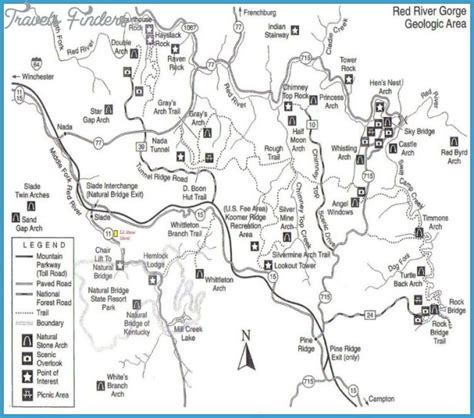red river gorge hiking maps travelsfinderscom