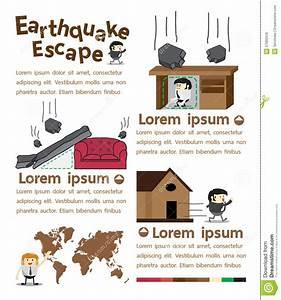 Earthquake Escape Infographics Stock Vector