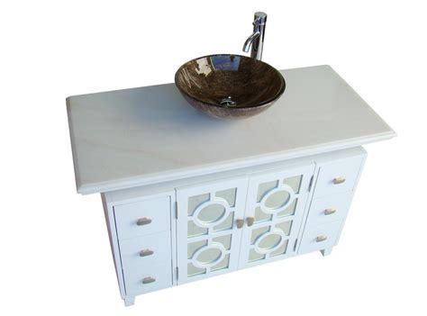 Adelina Inch White Finish Vessel Sink Bathroom Vanity