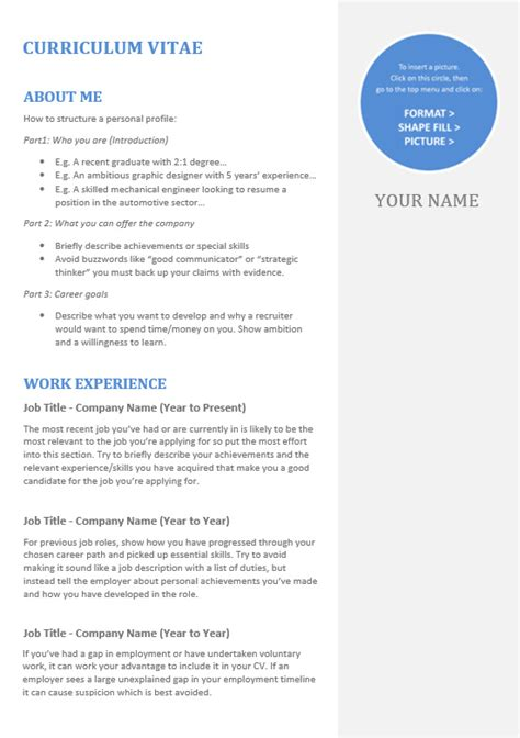 Cv Structure Template by Cv Template Toner