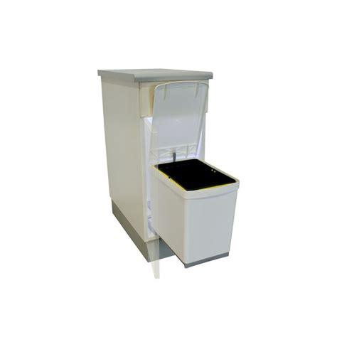 poubelle cuisine coulissante poubelle rectangulaire 1 bac 16l blanc