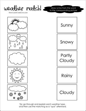 Weather Match Printable  Weather & Seasons For Preschool  Preschool Weather, Weather