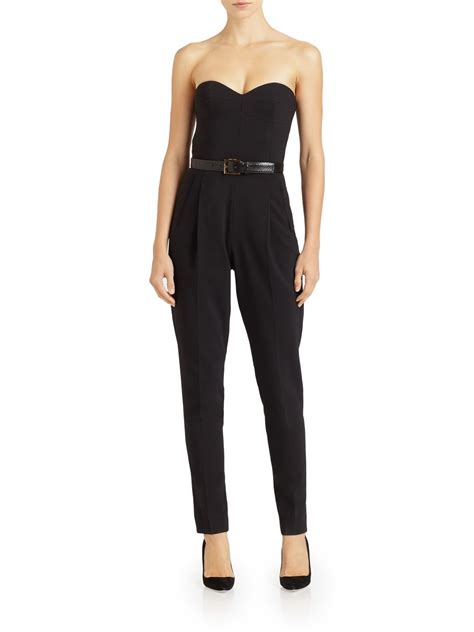 strapless jumpsuit michael kors strapless jumpsuit in black lyst