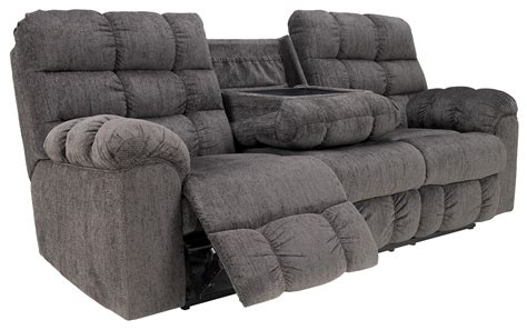 Table With Sofa by Reclining Sofa With Drop Table And Cup Holders By