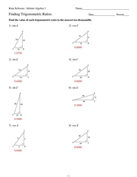 math worksheets trigonometric ratios trigonometric