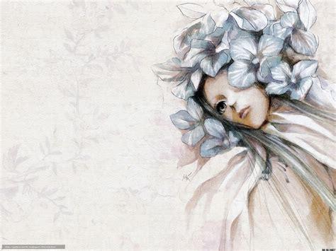 dessin bureau tlcharger fond d 39 ecran fille fleurs dessin feuillage