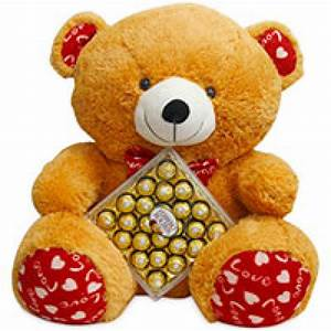 3 Feet Height Big Teddy Bear With Box Of 24 pcs Ferrero ...