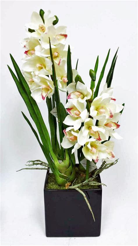 square glass centerpieces get white cymbidium orchid flower pot