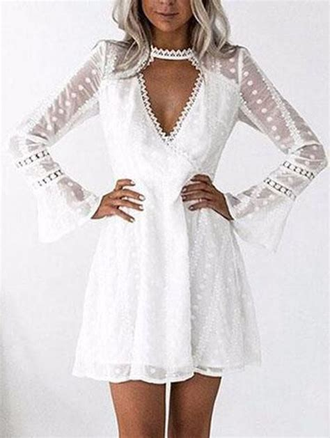 V Neck Hollow Out Lace Patchwork Elegant Flare Sleeve ...