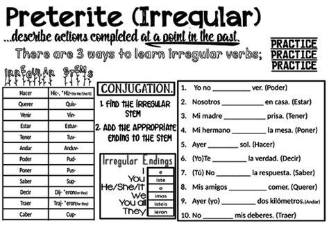 spanish preterite tense worksheet irregular by dan haste