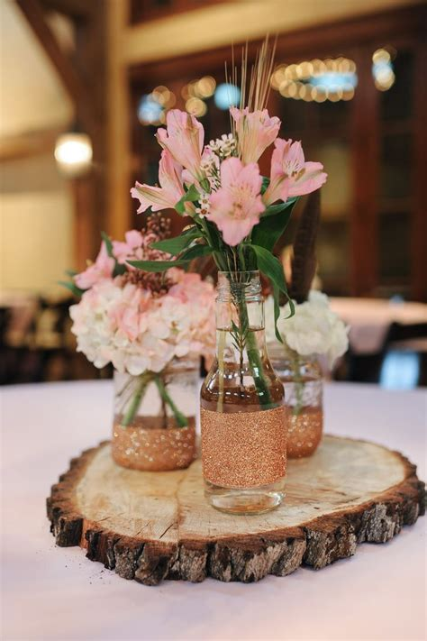 personalized tree skirt ideas rustic tree stump centerpieces with jars and pink