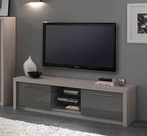 Meuble Gris Laqué : meuble tv plasma fano chene blanchi laque gris chene blanchi gris brillant l 180 x h 50 x p 50 ~ Nature-et-papiers.com Idées de Décoration