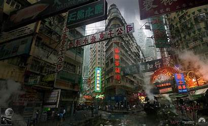 Ghost Shell Concept Artstation Slums Chris Cyberpunk