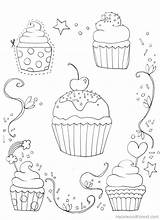 Coloring Pages Cupcake Cupcakes Adult Sprinkles Adults Colouring Sheets Cute Template Printable Visit sketch template