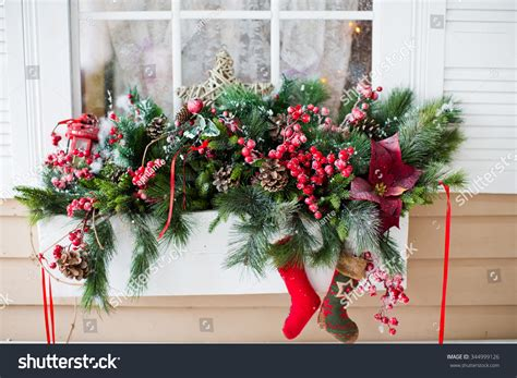 christmas decorations  window sill stock photo