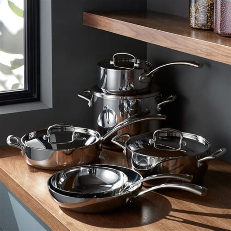 cuisinart french classic stainless steel  piece cookware set reviews crate  barrel