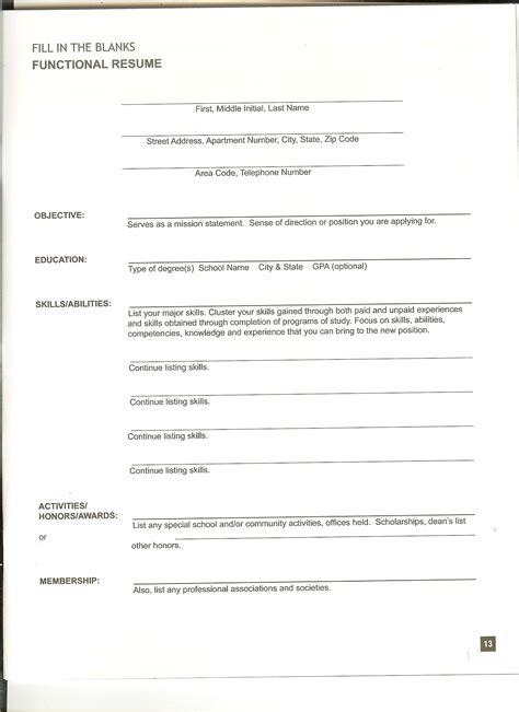 Forms Of Resumes by Blank Resume Form To Fill In Mbadissertation Web Fc2