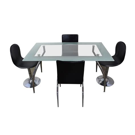 glass table with 4 chairs rectangle glass table with 4 chairs silver frame