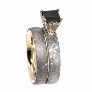 Princess Cut Black Diamond Engagement Ring With Wedding