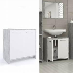 Badschrank Mit Integriertem Wäschekorb : waschbeckenunterschrank kiko wei grau beton real ~ Markanthonyermac.com Haus und Dekorationen