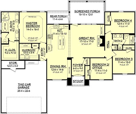 European Style House Plan  4 Beds 2 Baths 2000 Sqft Plan