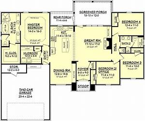 European style house plan 4 beds 2 baths 2000 sq ft plan for Floor plans for 2000 sq ft house