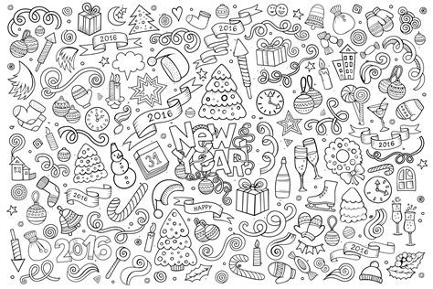 doodle happy  year  doodle art doodling adult coloring pages