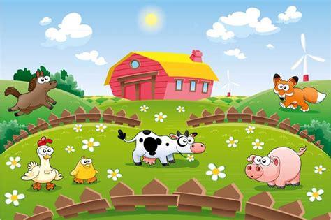 playful farmhouse animals wallpaper  kids play area