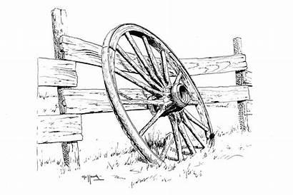 Wagon Wheel Drawing Drawings Pencil Wheels Sketch