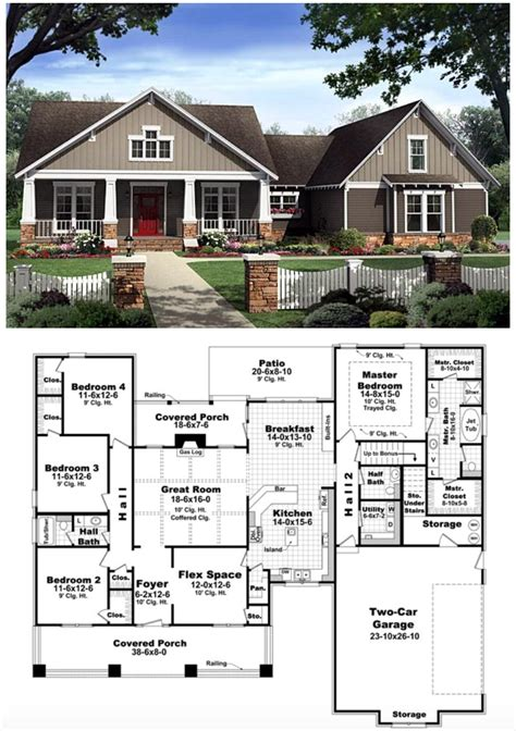 craftsman style house plan    bed  bath  car garage bungalow floor plans