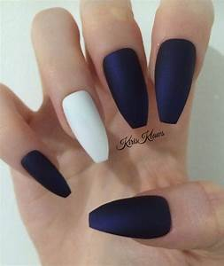 x Matte Navy x and white false nails by KirisKlaws on Etsy