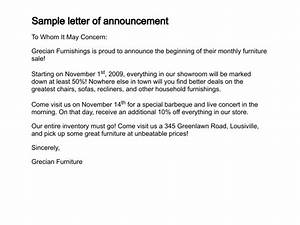 Letter of Announcement - Sample Letter of Announcement