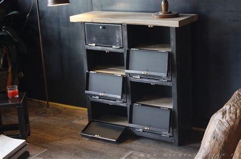 armoire de bureaux meuble 8 clapets métal style industriel sur mesure