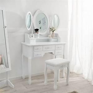 Coiffeuse 3 Miroirs : coiffeuse meuble table de maquillage tabouret commode avec 3 miroirs blanc ebay ~ Teatrodelosmanantiales.com Idées de Décoration