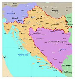 Detailed political map of Croatia with roads and major ...
