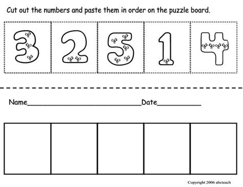 preschool cut outs cut amp paste number ordering number identification math 225