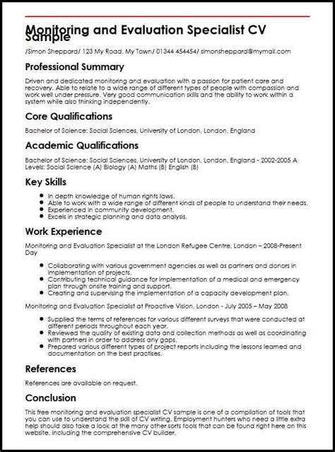 monitoring and evaluation specialist cv sle myperfectcv