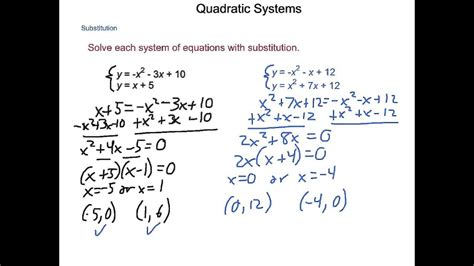algebra2 4 9 quadratic systems youtube