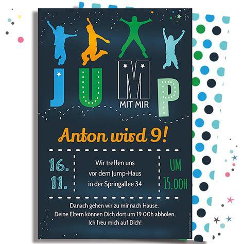 einladungskarte fuer eine jump party boy minidrops