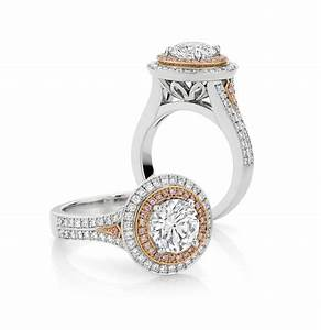 Round brilliant cut white pink diamond ring engagement for Pink diamond wedding rings