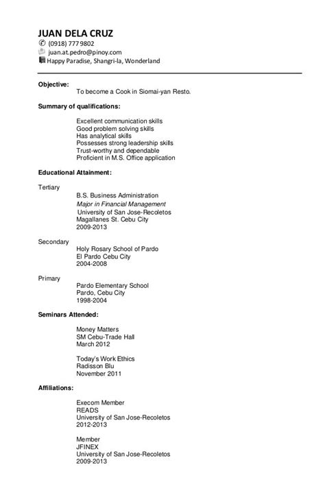 resume sle for fresh graduate thesis statement