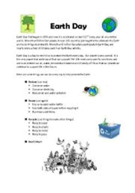 worksheets earth day information and worksheet