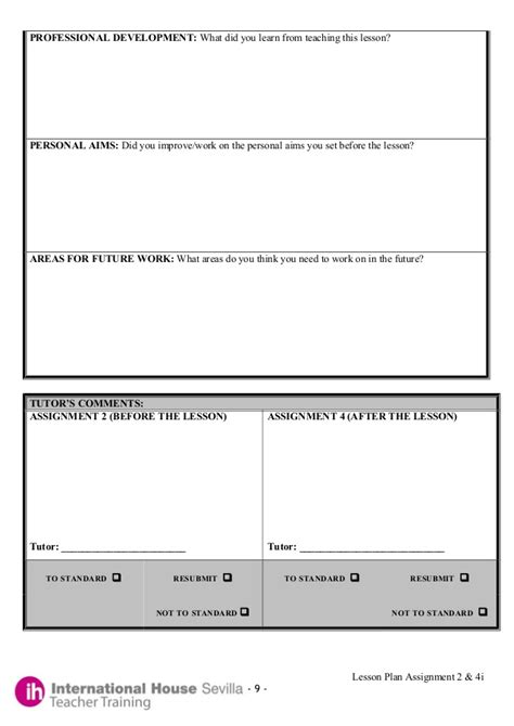 Developing A Lesson Plan Template by Exle Of A Celta Lesson Plan