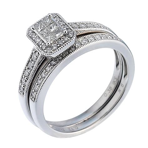 ct white gold  carat diamond bridal ring set hsamuel