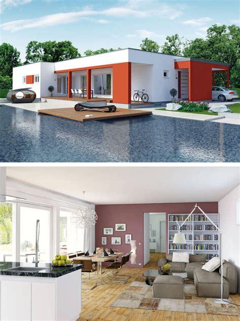 Moderne Architekten Bungalows by Bungalow Haus Modern Mit Flachdach Architektur Fassade Rot