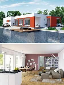 Fertighaus Flachdach Modern : bungalow haus modern mit flachdach architektur fassade rot wei einfamilienhaus innen bungalow ~ Sanjose-hotels-ca.com Haus und Dekorationen
