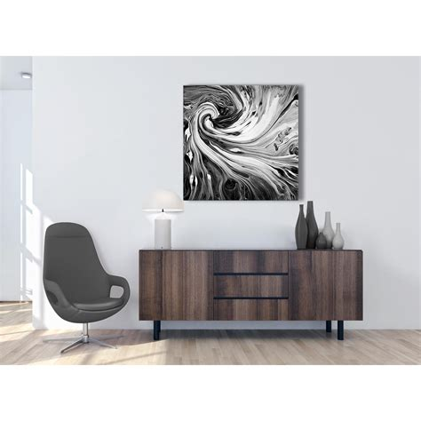 Black And White Abstract Uk by Black White Grey Swirls Modern Abstract Canvas Wall