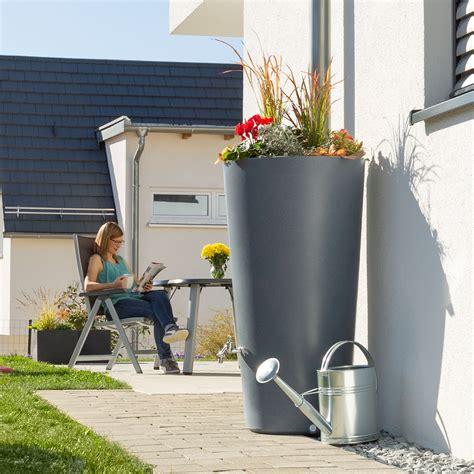 regentonne mit überlaufschutz regentonne grau rainbowl flower 150 liter