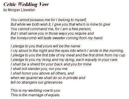 celtic wedding vow       entire vow