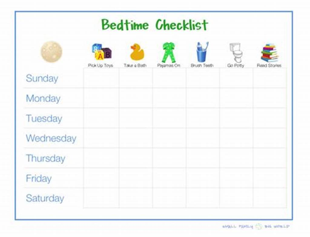 #8 #Best #Images #Of #Printable #Bedtime #Routine #Checklist